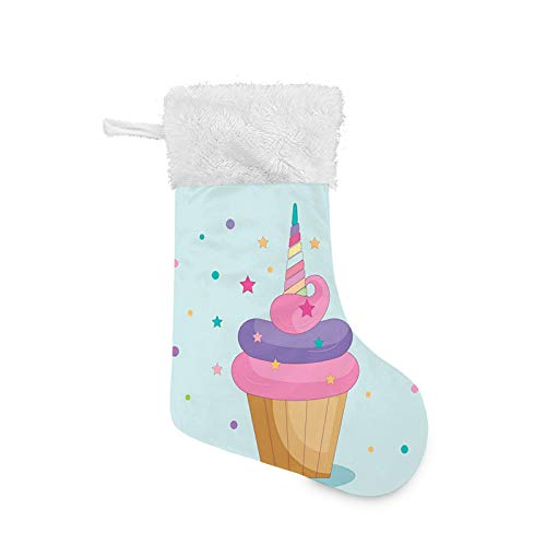 FULIYA Christmas Stocking, Unicorn Cake with Fairy Rainbow Horn Over It with Stars and Dots Girls Fantasy, Xmas Character 3D Plush with Faux Fur Cuff Christmas Decorations and Party Accessory