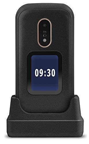 Doro 6060 Telefono Cellulare per Anziani a Conchiglia 2G Dual SIM Facile da Usare con Tasti Grandi, Display Esterno, Tasto SOS con Geolocalizzazione e Base di Ricarica (Nero) [Versione Italiana]