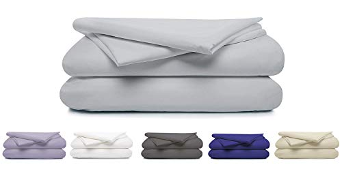 """100% Cotton Percale Sheet Set, Soft & Crisp 4 Piece Set, 300 Thread Count Long Staple Combed Cotton, 16"""" Deep Pocket, Hotel Quality, Oeko-TEX Certified - Queen, Steel Gray - by Boston Linen Co"""