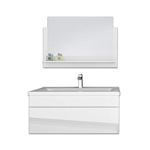 Home Deluxe - Badmöbel-Set - Wangerooge Big weiß - M - inkl. Waschbecken und komplettem Zubehör - Breite Waschbecken: ca. 80 cm