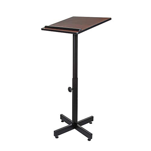 OEF Furnishings Height Adjustable Portable Lectern Stand - Mahogany