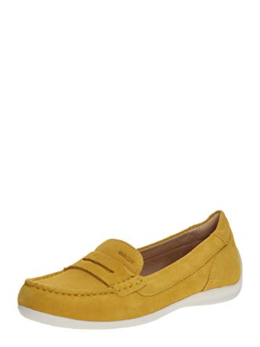 Geox Damen Slipper Yuki, Frauen Mokassins,Women's,Woman,College,Schuhe,Loafer,Businessschuhe,Schlupfschuhe,Lady,Gelb (LT Yellow),41 EU / 7.5 UK