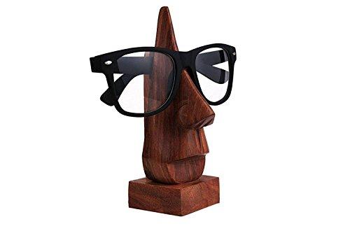 IndiaBigShop Brillenhalter Holz Brillen Spec Ständer Halter mit Nase Form Design Display Stand Home Decor