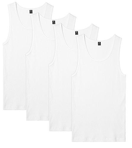 LAPASA Pack de 4 Camisetas de Tirantes Deportivas para Hombre Algodón 100% de Canalé M35