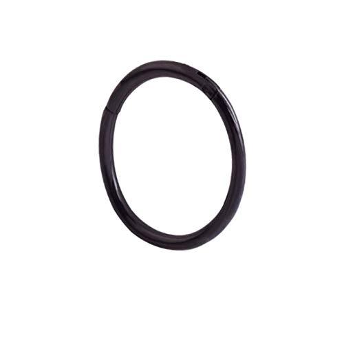 HKLD M G23 Anillo de diafragma de titanio abierto pequeño diafragma perforado pendientes para mujer y hombre, joyería de oreja y nariz (color principal de la piedra: 1,2 12 mm, color metálico: negro)