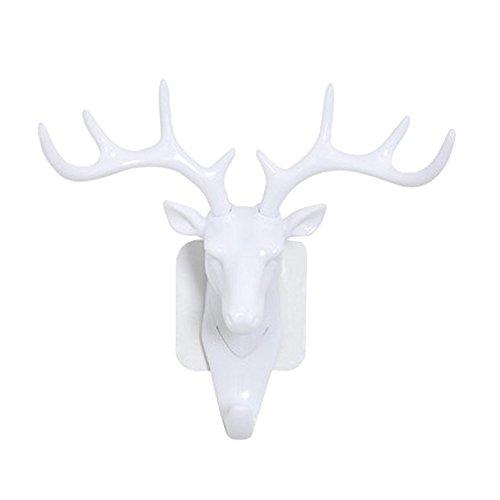 Hunpta@ Soporte para collar y pulsera, organizador de soporte, cabeza de ciervo autoadhesivo, gancho para puerta de pared, gancho para colgar llaves, soporte adhesivo (blanco)