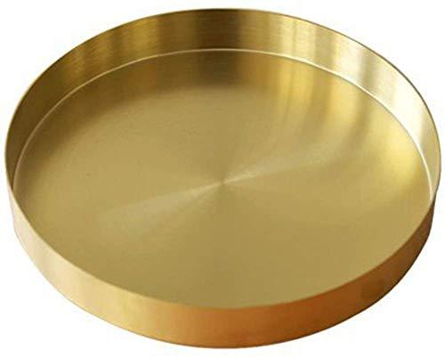 UniDes - Round Brass Tray,Small Gold Decorative Tray Metal Storage Organizer Tray for Modern Home,Matte Brass Finish | 7 Inch