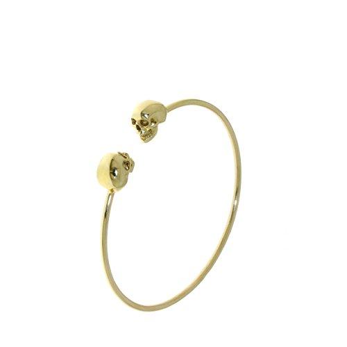 DML | Pulsera rígida unisex con calaveras de oro amarillo d