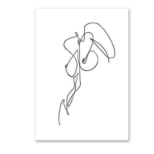 Rjunjie Corps de Femme Dessin au Trait Toile Abstraite - Affiche et Impressions de Peinture modulaire - Mur Image décoration Murale Minimaliste Mur d'art Mural (40 x 60 cm) Non encadrée