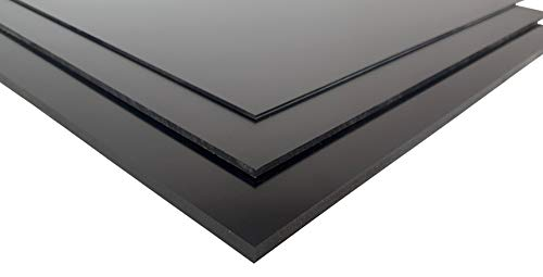 Placa de PVC duro de 4,0 mm, color negro, aprox. 495 x 495 mm, PVC compacto.