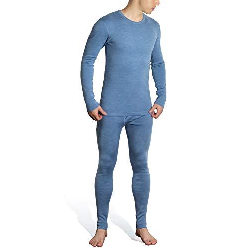 SHEEP RUN Men's 100% Merino Wool Thermal Midweight Base Layer Top and Bottom Underwear Long John Set (S) Blue