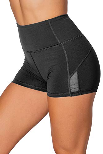 Kamo Fitness High Waist Athletic Yoga Shorts Tummy Control Workout Running (Butter Black,...