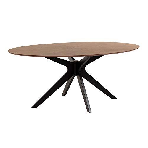 Kave Home Naanim - Tavolo da pranzo ovale, 180 x 110 cm, in legno di noce, gambe in legno di gomma...