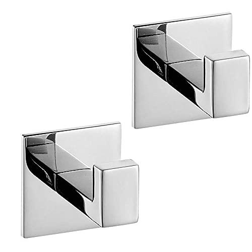 Honton 2 ganchos autoadhesivos para baño de cocina, ganchos multiusos de acero inoxidable, ganchos de carga detrás de la puerta, color plateado