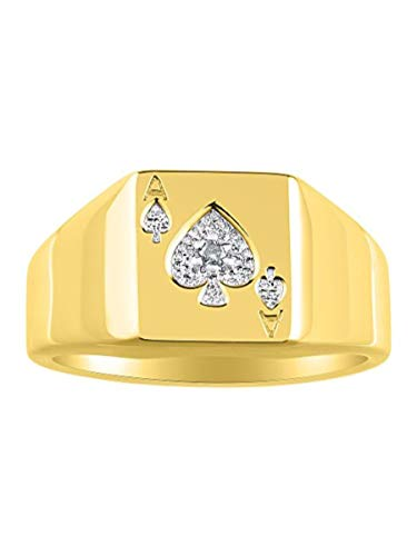 RYLOS Mens Ring with Genuine Sparkling White Diamonds Set in 14K Yellow Gold Plated Silver .925 - Designer Style