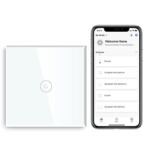 BSEED Interruptor de Sensor Táctil WIFI Inteligente (Se Requiere Línea Neutra) Alexa y Google Home Work con Tuya Para Interruptores de Luz de Pared con Placa de Cristal Negro 1 Gang 1 Vía Blanco