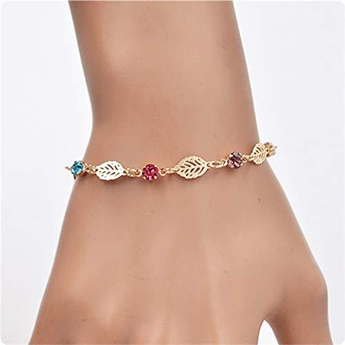 erDouckan Charming Bracelet   Women Fashion Hollow Leaf Plants Pattern Rhinestone Bracelet Jewelry Decor, Best Gift for Whom You Care