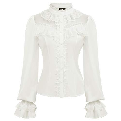 camicia donna gotica Curlbiuty Camicetta retrò Camicetta di Pizzo Maniche Lunghe Girocollo Stile Vittoriano Gotico Vintage Bianco S CU43-2