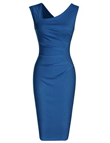 MUXXN Womens Cute Sleeveless Slim Fomral Office Work Pencil Dress (Navy Blue M)
