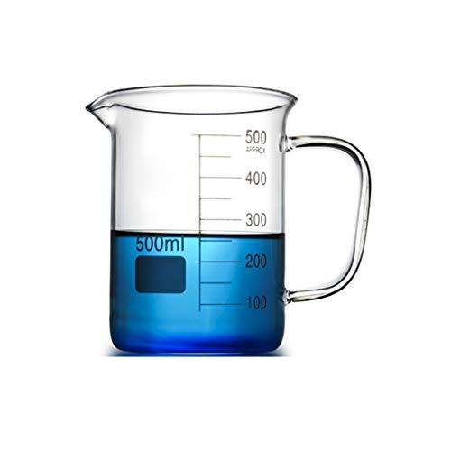 LBWT 500ML Glasbecher mit Griff, Haushalt Werkzeuge Mess, hohe Temperaturbeständigkeit, Laborlehrmittel, Experiment Ausrüstung