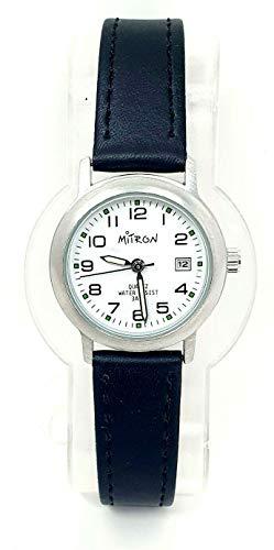 Mitron Damenuhr Silber mit schwarzem Band / 63416