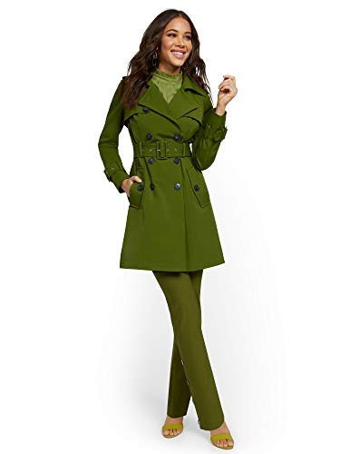 New York & Co. Women's Belted Trenchcoat - 7Th Xlarge Green Dolly