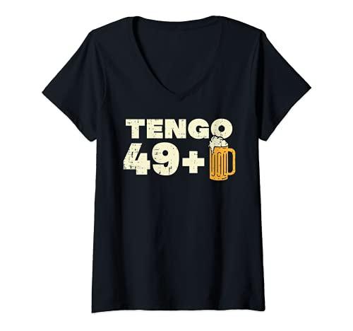 Mujer 49+ Cerveza Cumpleanos Humor 50th Birthday Hombre Regalo Camiseta Cuello V