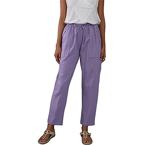 Color SóLido Bolsillos Grandes Cintura EláStica Pantalones Sueltos De Pierna Recta Pantalones Casuales con...
