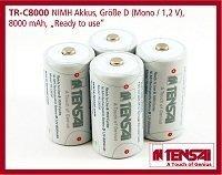 Tensai TR-C8000 Pile ricaricabili precaricate NiMH Mono D HR20 LR20 D 8000 mAh Akku 1.2V, confezione da 4 - Low Self Discharge