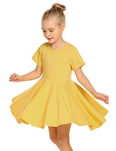 Trudge Mädchen Swing Kleider für Kinder Sommerkleid Hem Skaterkleid Kurzarm T Shirt Kleid Baumwolle Prinzessin Kleid einfarbig Basic FatternKleid Rundhals Freizeitkleidung Gr.92-164, A Gelb, 130