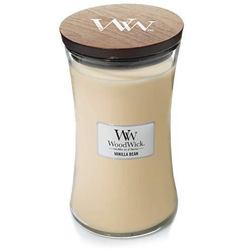 Woodwick Hourglass Candela Profumata Grande con Stoppino Scoppiettante, Bacca, Fino A 130 Ore, Beige (Baccello di Vaniglia)