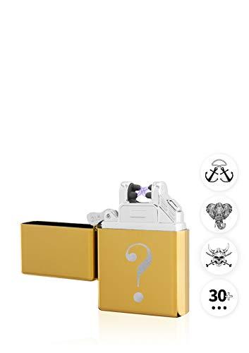 TESLA Lighter T03 Lichtbogen Feuerzeug, mit Wunsch-Gravur, personalisiert als Geschenk zu Weihnachten, Geburtstag etc. Elektronisches Feuerzeug, wiederaufladbar per USB inkl. Geschenkverpackung Gold