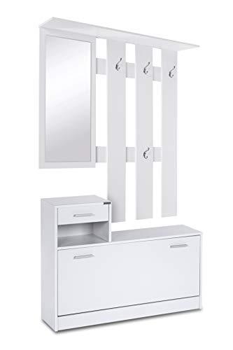 ts-ideen Garderobenset Set Wand-Garderobe Flurgarderobe mit Schuhschrank Spiegel Kommode Garderobe in Weiß 98 cm Breite