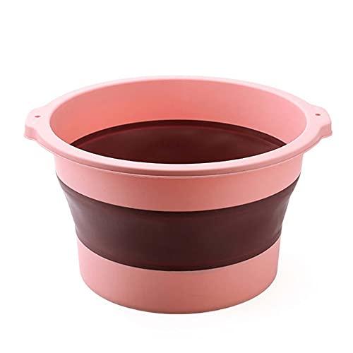 HAOHUI Bañera Pies Plegable Baño Pies Portátil Balde Masajeador SPA para Pies Cubo Plástico para Estimular Las Plantas Los Pies Y Los Meridianos Aliviar La Fatiga del Pie,Pink