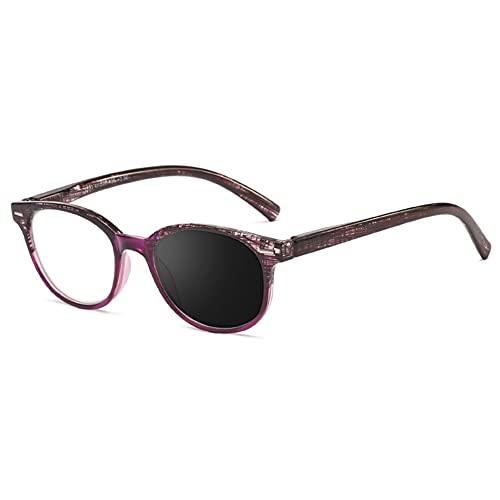 EYEphd Gafas de Lectura de Alta definición fotocromáticas Retro de Las señoras, Gafas de Sol al Aire Libre de la Lente de Resina asférica/Anti-Ultravioleta Aumento +1.0 a +3.0,Púrpura,+2.0