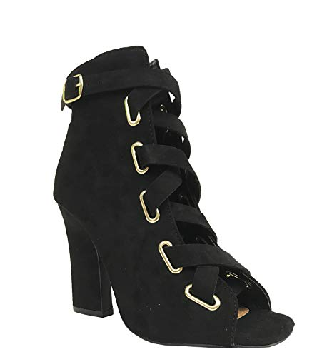 Qupid LITE 04 Women's Peep Toe Ankle Buckle Strap Lace Up Heeled Bootie, Black Faux Suede 9 M US