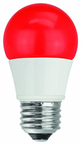 TCP 40W Equivalent, LED Red A15 Light Bulbs, Non-Dimmable