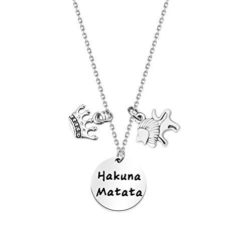 KUIYAI Hakuna Matata No Worries Macrame Bracelet Inspired Gift (Hakuna Lion Necklace)