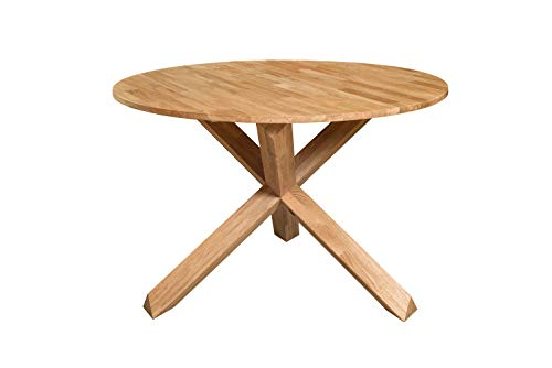 Nordic Story - Tavolo da pranzo rotondo con gambe a X per 4 persone, in legno massello di quercia,...
