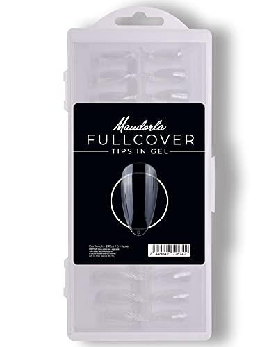 240 Pezzi Fullcover Tips in Gel a forma di Mandorla Trasparenti, 6 misure Full Cover Unghie Finte per Ricostruzioni Mani, Nails e Tip Nail art