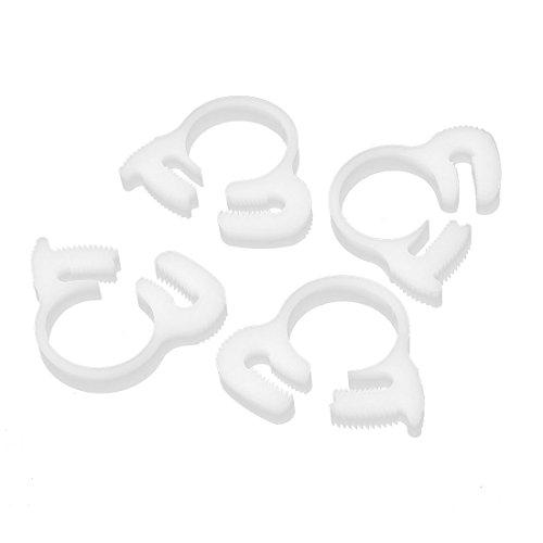 16.3mm-17.9mm Adjustable Ratchet Type Plastic Hose Tube Clamps Fasteners 4 Pcs