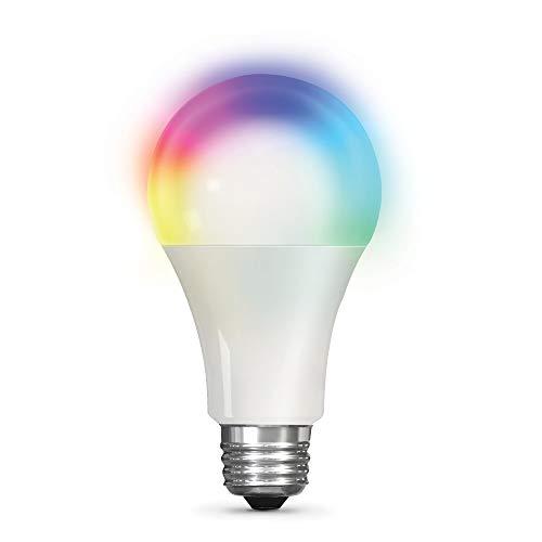 Feit Electric OM100/RGBW/CA/AG 100W Equivalent High-CRI Alexa Google Smart WiFi LED Light Bulb, A21, Multi-Color RGBW