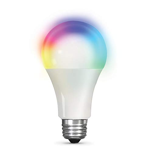 Feit Electric OM100/RGBW/CA/AG 100W Equivalent A19 High-CRI Alexa Google Smart WiFi LED Light Bulb, Multi-Color RGBW