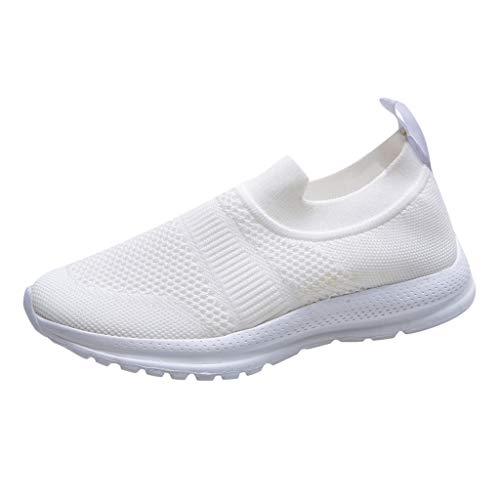 Dorical Damen Freizeit Sportschuhe Atmungsaktiv Laufschuhe Mesh Slip On Sneakers Walking Outdoor Gym Bequem Leichte rutschfest Freizeitschuhe Übergrößen 35-43 EU(Weiß,41 EU)