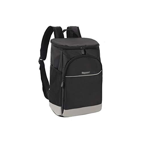 Kühlerer Rucksack, dichtliche geräumige leichte leichte weiche Kühlerbeutel-Rucksack-Kühler, leckenfestes und wasserabweisendes Picknick-Rucksäcken (Color : Black, Größe : 19.5 * 26 * 37CM)