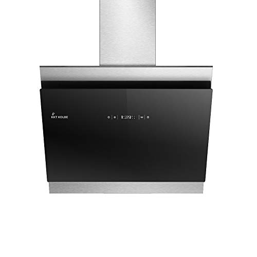 KKT KOLBE Kopffreie Dunstabzugshaube/Wandhaube / 60cm / Edelstahl/Schwarzes Glas/Extra-leise/LED-Beleuchtung / 4 Stufen/Touchsteuerung/Nachlaufautomatik / BICOLORE606S