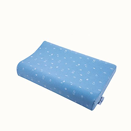MRBJC Almohada de espuma de memoria para niños Almohada de látex natural almohada de dormir plana para almohada de niño para dormir azul 50x30x9/7cm