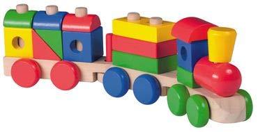Jouéco Holzzug Steckspielzeug für Kleinkinder unterstützt das spielende Lernen von Motorik und Farben