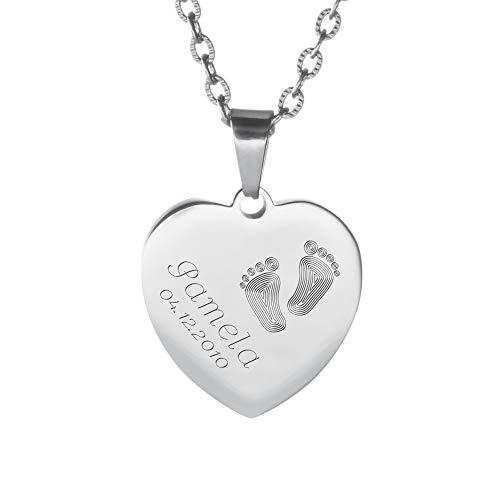 Gravado Halskette aus silberfarbenem Edelstahl mit Herz-Anhänger und Gravur mit Kinder Füßchen, Personalisiert mit Namen und Datum, Mädchen Schmuck