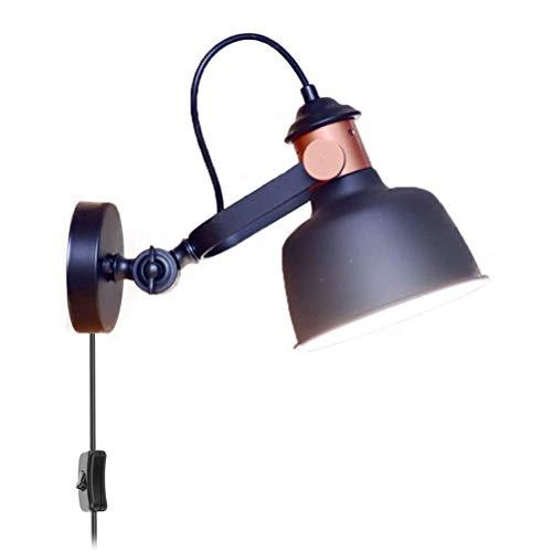 OOWOKS Aplique Vintage Negra con Interruptor y Enchufe Lámpara de Lectura E27 Lámpara de Pared Industrial Retro Pantalla giratoria Ajustable, para Sala de Estar Dormitorio Cama Pasillo Punto de Pared